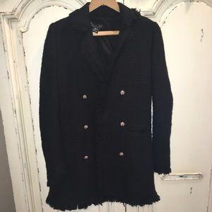 NWT Rachel Zoe Black Tweed Coat Sweater XS